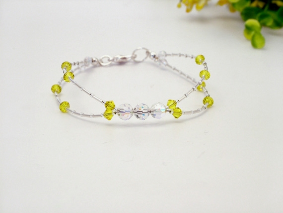 Handmade sterling silver bracelet with lemon yellow and sparkly Swarovski Crystal bridal bracelet.