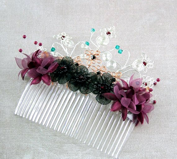 Goth, steampunk wedding bridal hair accessory, decorative hair comb.Silver, gold wire, burgundy & black flowers,red, green, black crystals.