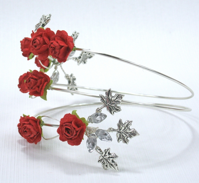 upper arm bracelet, red roses, silver