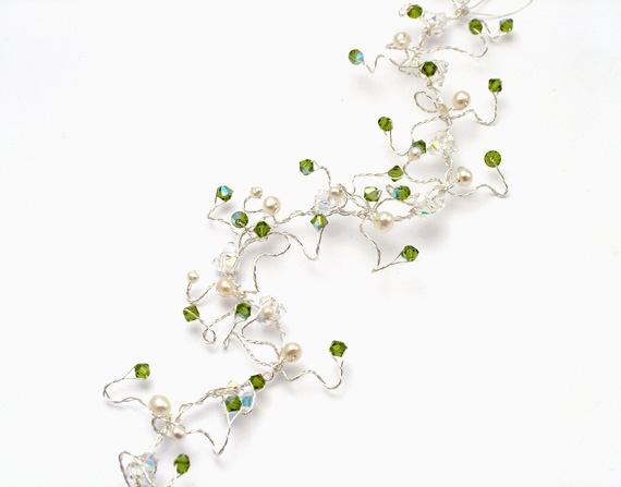Woodland wedding hair vine with fern green and sparkly Swarovski crystals, ivory freshwater pearls on silver wire.