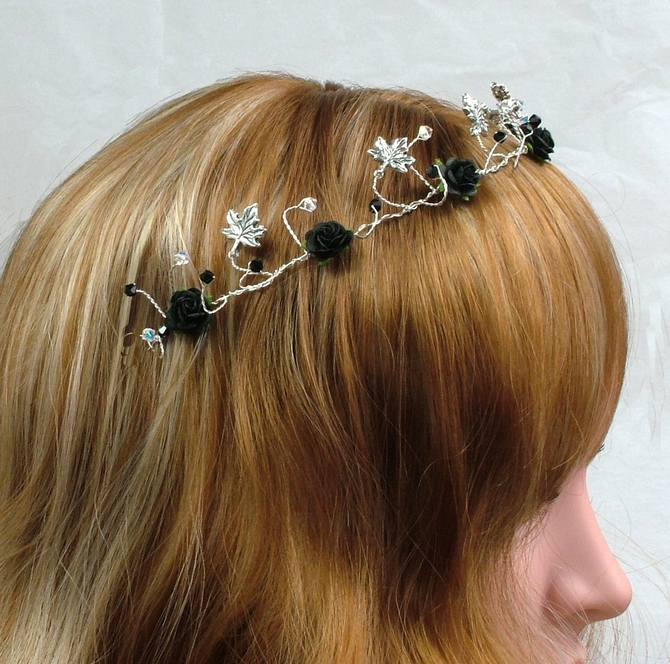 Goth wedding style hair vine on silver wire with silver ivy and black Swarovski crystals