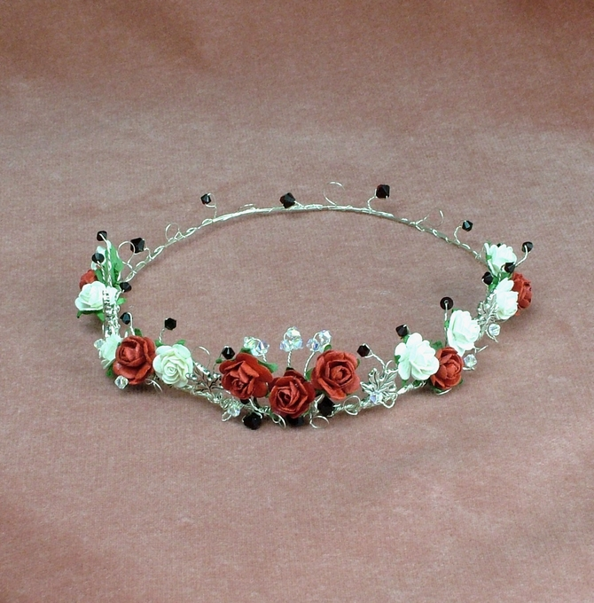 Red and ivory rose Medieval or Handfasting circlet with Garnet Swarovski crystals