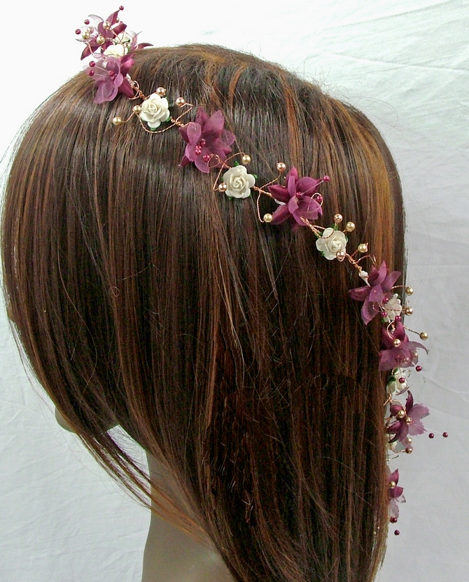 Burgundy and ivory flower hair vine with gold pearls