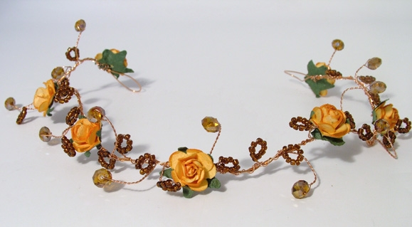 Medieval, woodland themed wedding gold hair vine with orange roses and bronze crystals