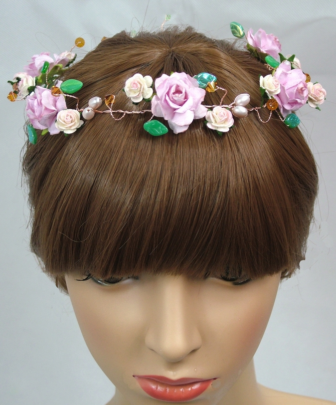 Bridal crown hair vine, Rustic Wedding style, pink flowers and Topaz Swarovski crystals
