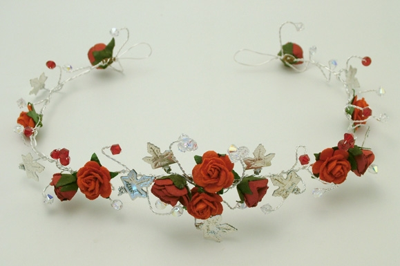 Medieval or Goth style hair vine with red roses, silver ivy plus Sian red and sparkly Swarovski crystals