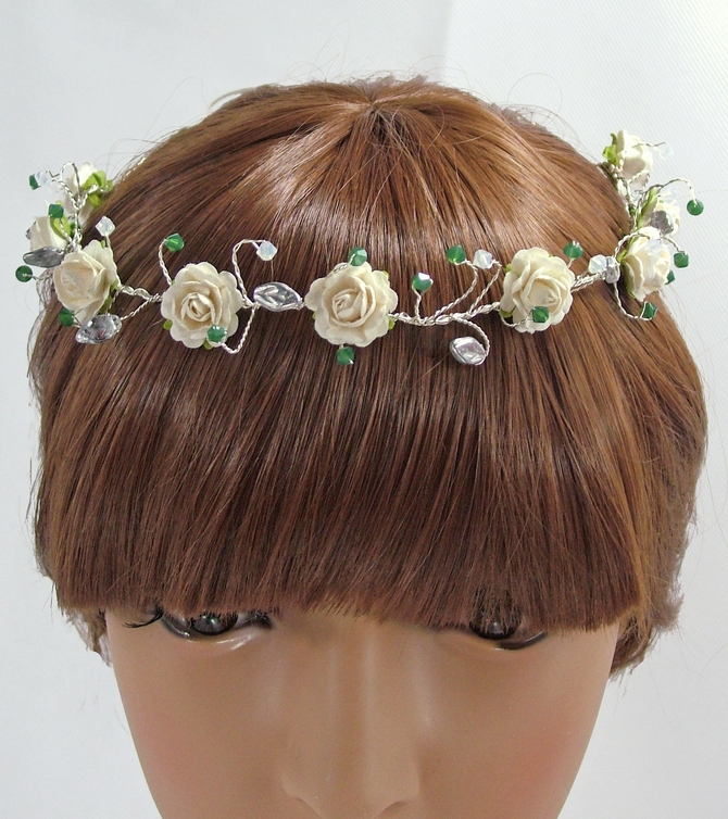 Ivory rose bridal headband