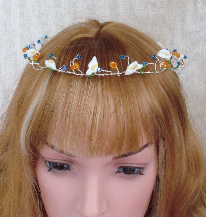 Boho wedding hair vine with Calla Lilies.