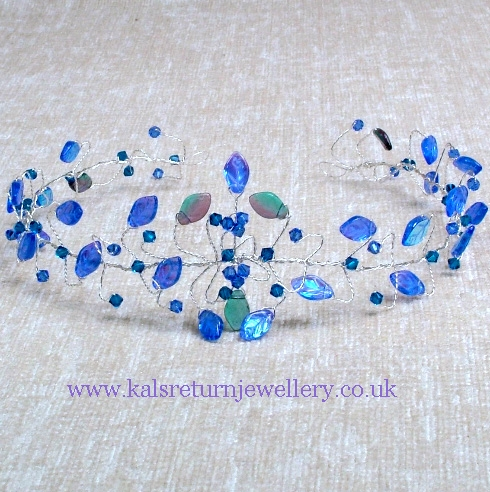 Alternative Fantasy wedding tiara with blue green leaves and Capri blue Swarovski crystals