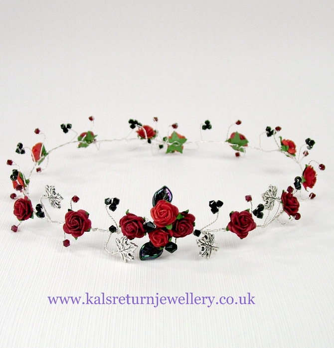 Red rose hair vine with black and red Swarovski crystals