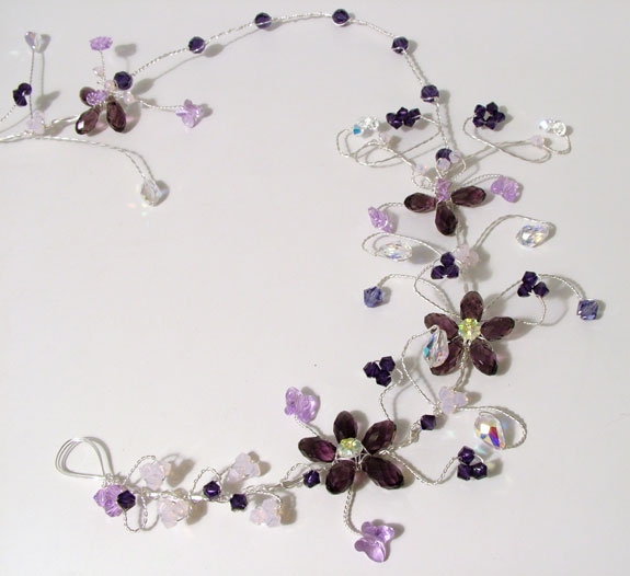 Purple and Lilac hair vine with crystal butterflies