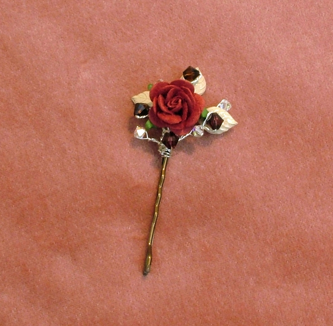 Red rose hair grip with ivory enamelled leaves and burgundy Swarovski crystals