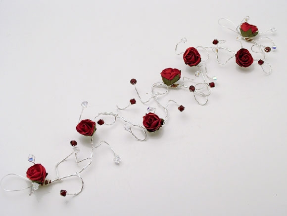 Christmas or winter wedding bridal hair vine with red rose hair vine with garnet Swarovski crystals