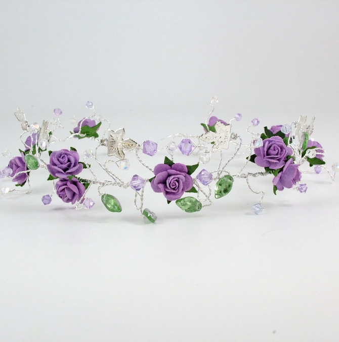 Lilac rose tiara, headband