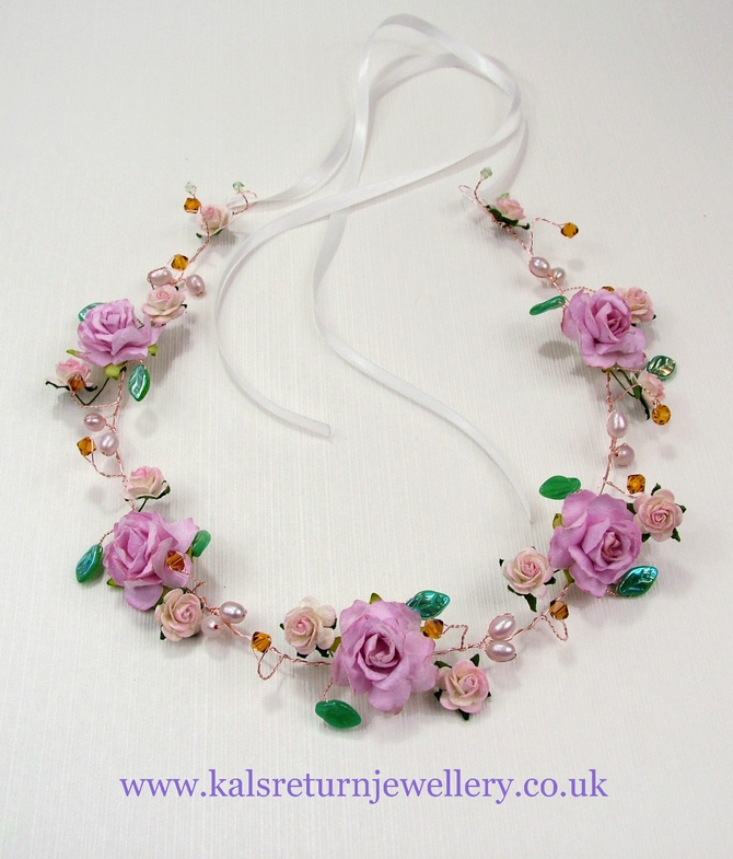 Pink flower crown, Rustic Wedding style, pink roses and Topaz Swarovski crystals