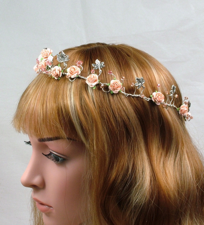 Peach and white flower rustic bridal crown