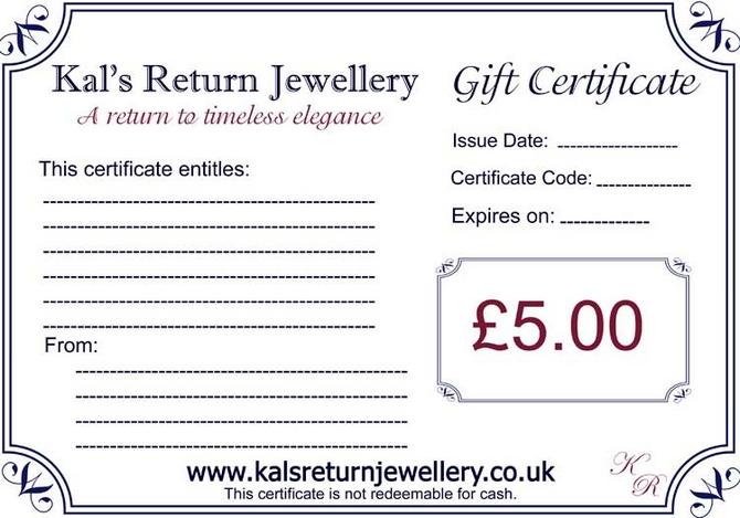 Jewellery Gift Voucher GBP5.00
