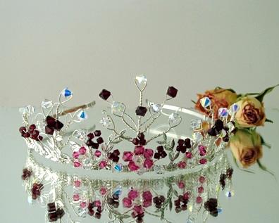 Handmade silver wedding tiara with Swarovski crystals