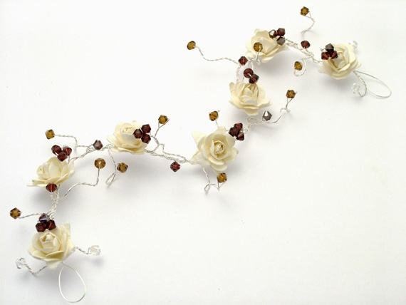 Hair vine with ivory roses with burgundy and topaz Swarovski crystals