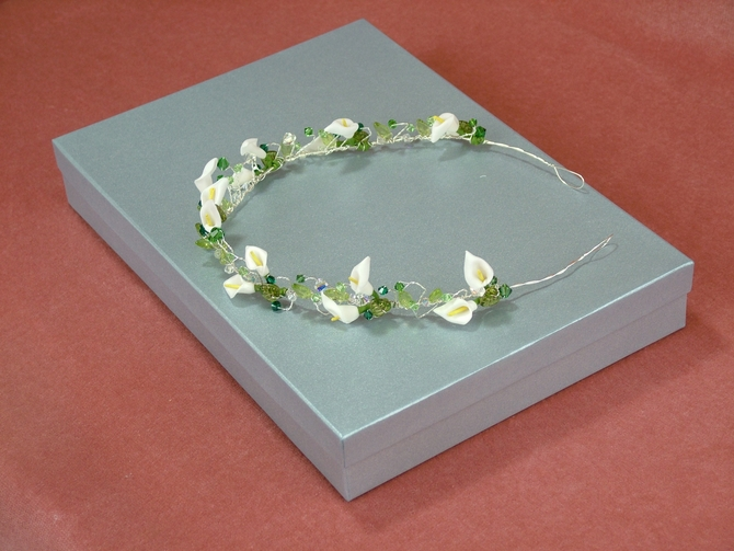 Calla Lilly tiara with leaves and green Swarovski crystals
