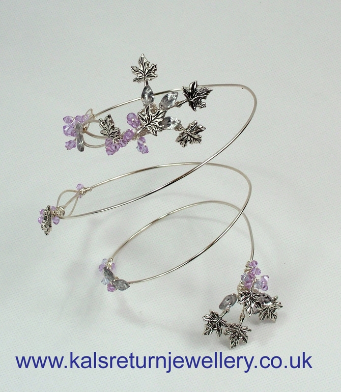 Silver arm cuff with Swarovski crystals and leaves
