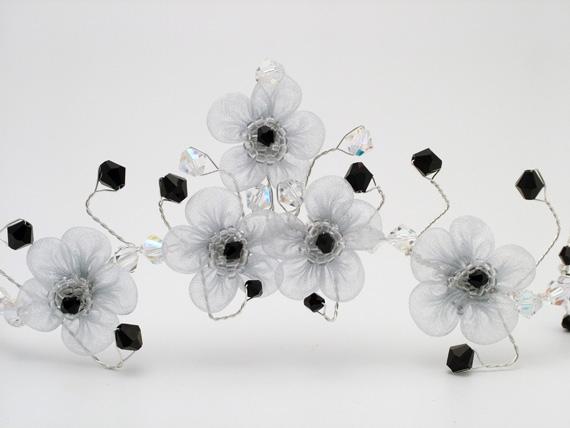 Handmade Goth bridal hair vine with organza flowers and Swarovski crystals.