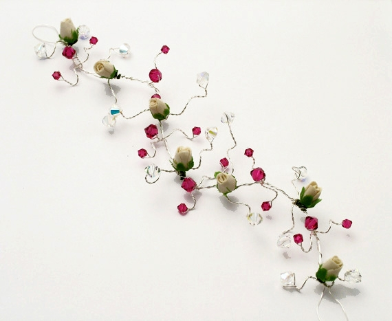 Christmas wedding hair vine with cerise pink Swarovski crystals, delicate freshwater pearls and ivory flowers