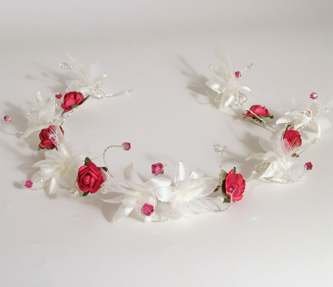 Christmas wedding hair vine with white silk and feather flowers