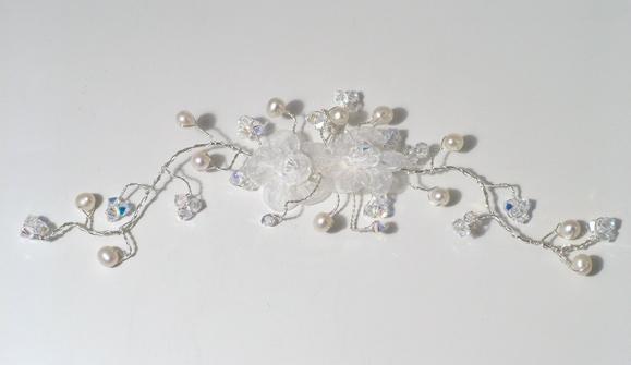 White organza flower with ivory freshwater pearls and sparkly Swarovski crystals wedding hair vine