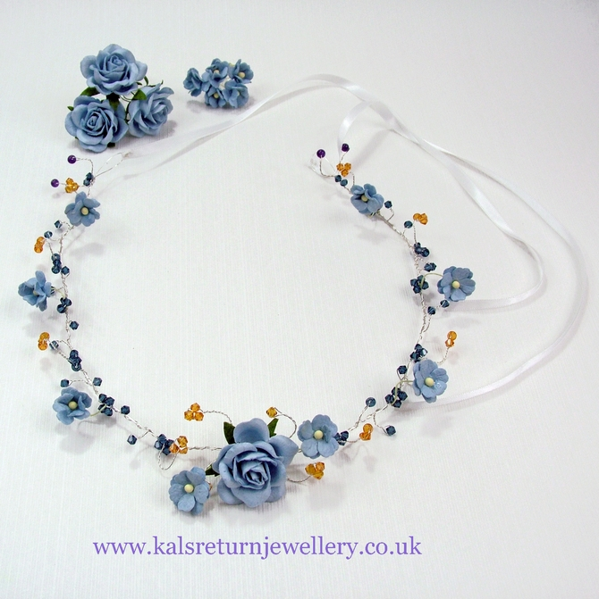 Blue flower bridal headband with topaz Swarovski crystals