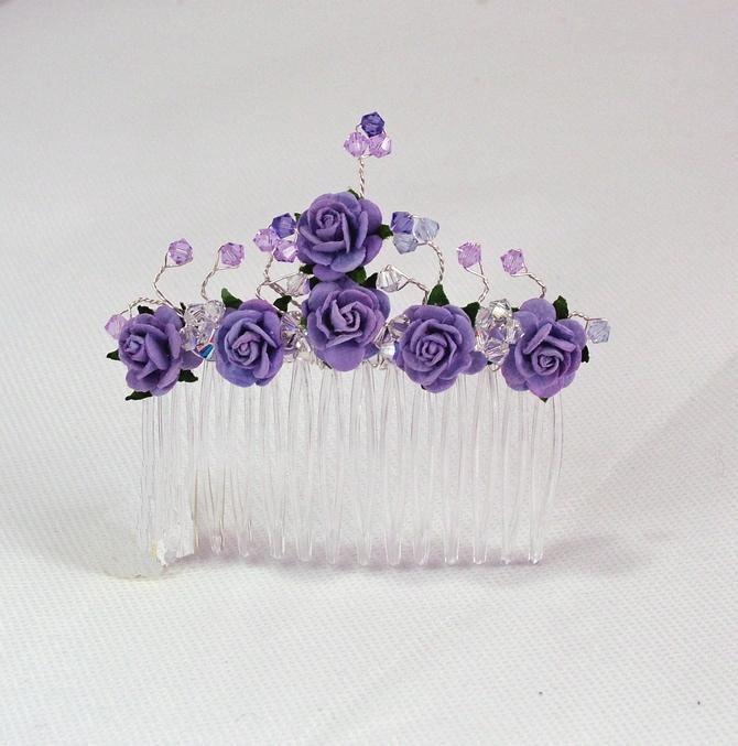 Lilac rose hair comb