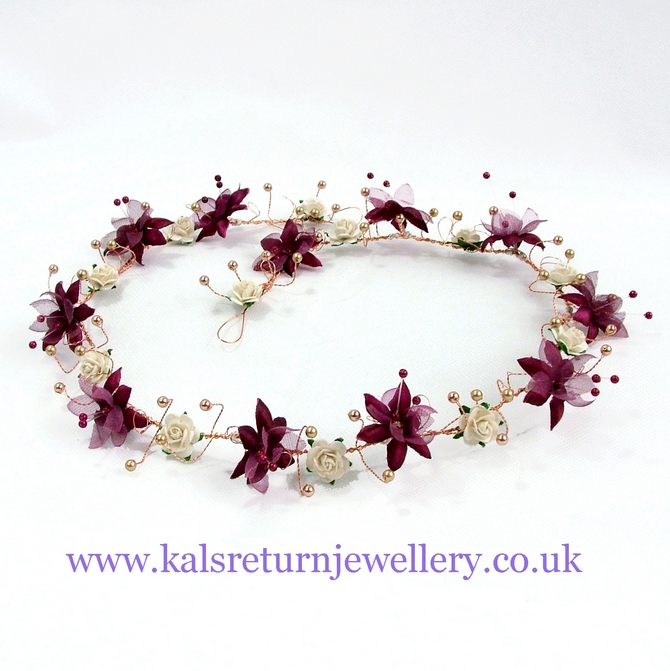 Winter wedding hair vine with burgundy and ivory flowers on gold wire