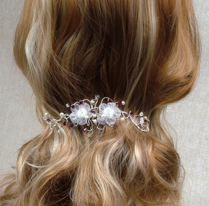 White organza flower bridal bun wrap with Garnet red crystals and Freshwater pearls