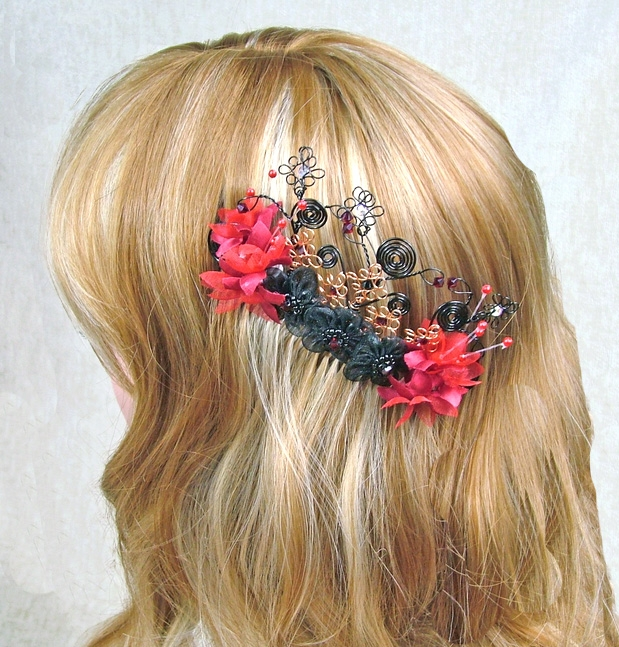 Large black and red flower Goth wedding hair comb