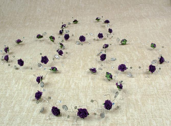 Deep purple rose hair vine with Black Diamond Swarovski crystals