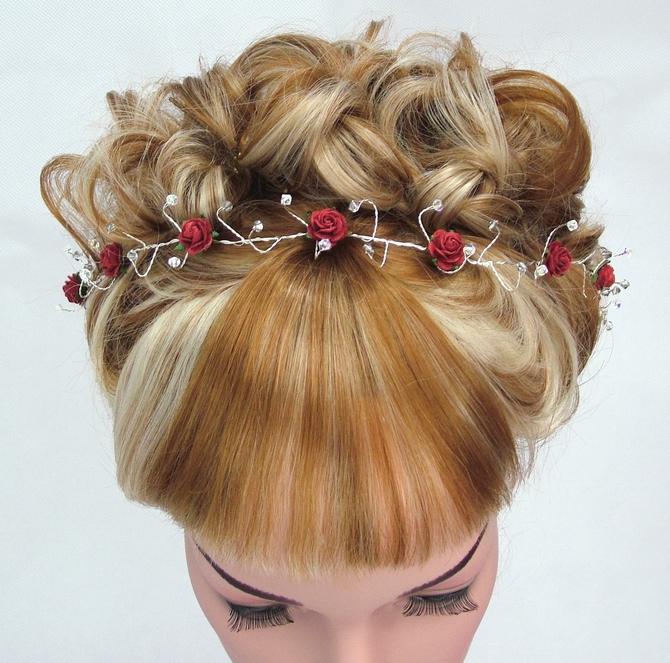 Red rose bridal hair vine with light grey Swarovski crystals
