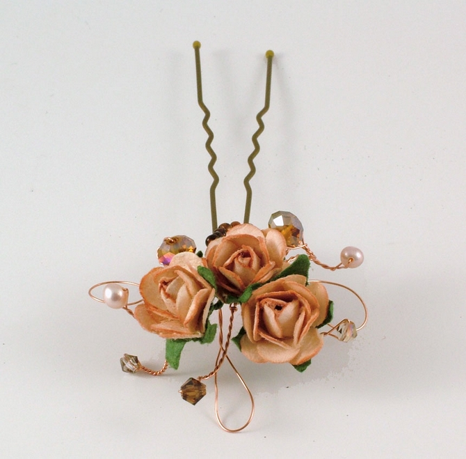 Peach rose hair grips with freshwater pearls
