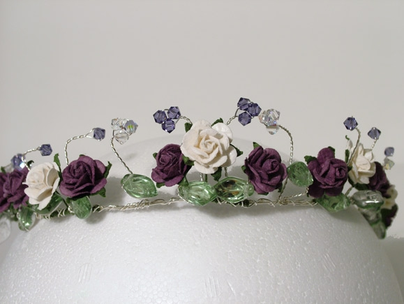 Bridal Circlet with purple and white roses and leaves