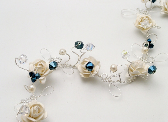 Wedding, prom hair vine with ivory roses plus metallic blue Swarovski crystals