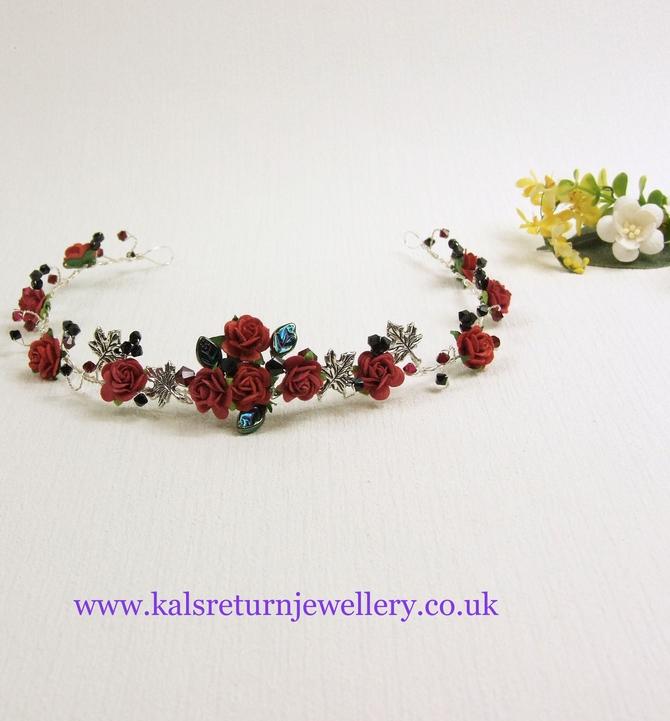 Goth wedding silver leaf, red and black crystals