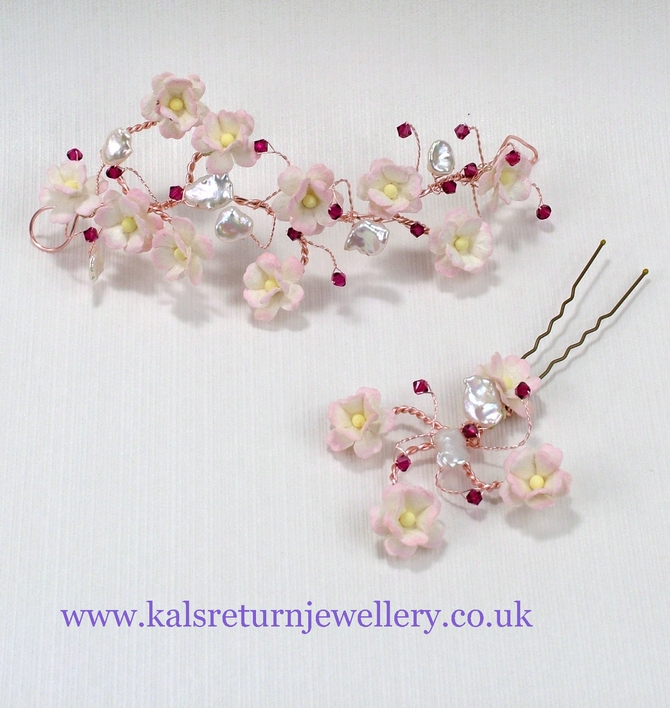 Rose gold bridal hair grip, pink flower blossoms, freshwater pearls, Ruby red Swarovski crystals