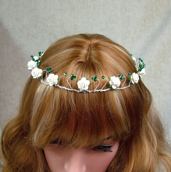 Handfasting bridal crown with ivory roses and emerald Swarovski crystals