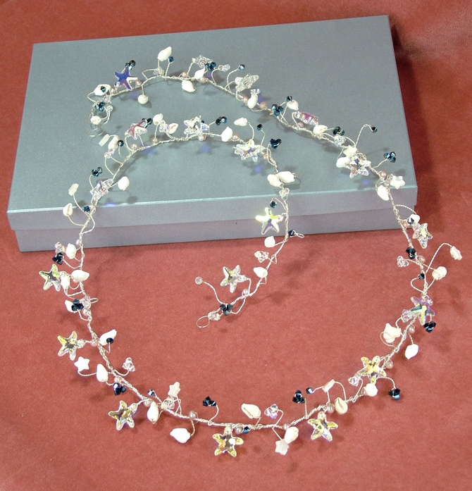 Swarovski starfish bridal hair grips with Mother of Pearl stars