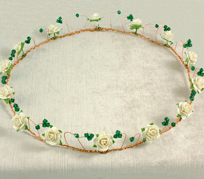 Gold Handfasting crown with ivory roses and emerald green crystals