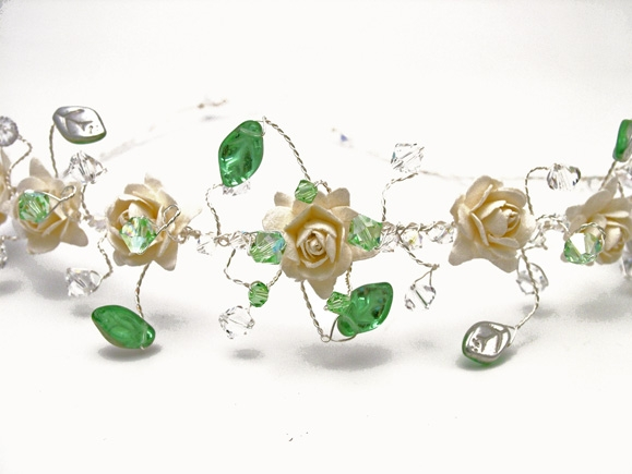 Wedding headband, tiara with ivory roses, green and silver leaves plus sparkly Swarovski crystals