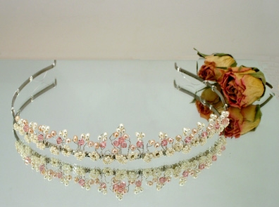 Medieval style wedding headband with silver, ivory pearls and carnelian red beads for bride or bridesmaid