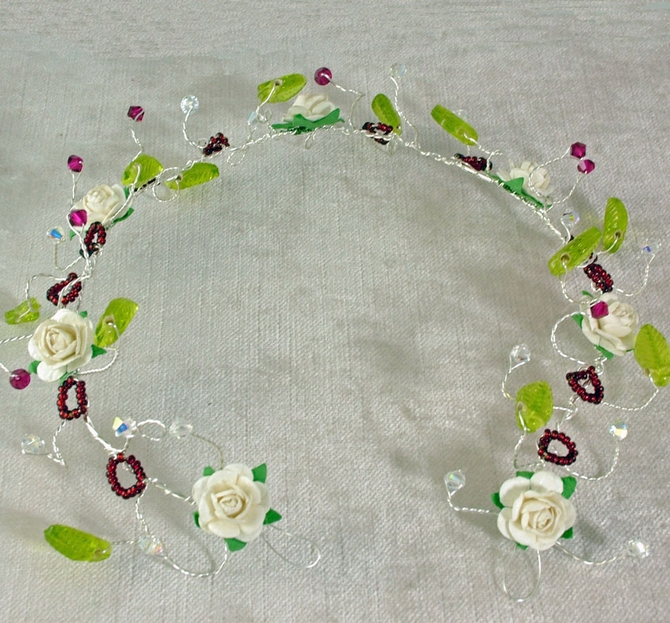 Rustic, Woodland wedding hair vine on silver wire with ivory roses, green leaves and red Swarovski crystals