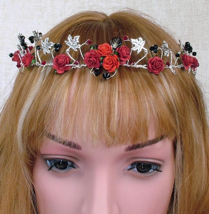 Black rose hair vine and red rose hair vine