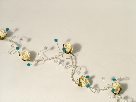 Bridal beach wedding hair vine with carribbean blue Swarovski crystals and cream / ivory roses