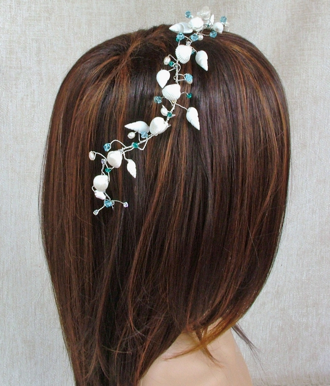 Beach Sea Shell hair vine with Crystals and Pearls